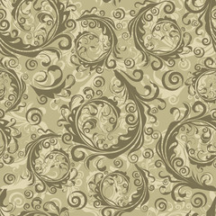 Seamless brown floral vintage vector pattern.