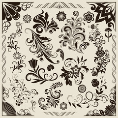 Floral vintage vector design elements. Set 25.