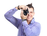 Young man with camera. Isolated over white background