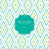 Vector green ikat diamonds frame seamless patterns backgrounds