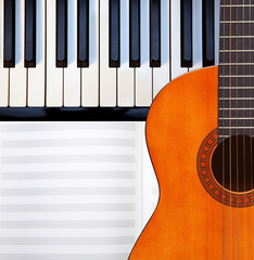 Guitar, piano and score.