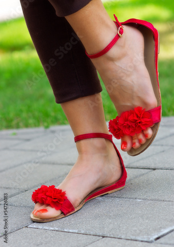 woman feet in sandals