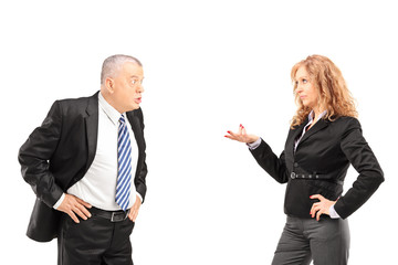 Mature man having a disagreement with a woman
