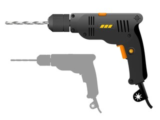 Gray electric drill. Vector illustration of the power tool.