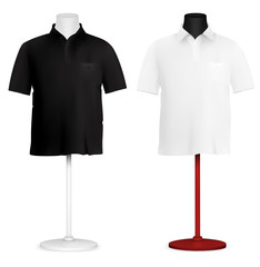 Plain polo shirt on mannequin torso template.