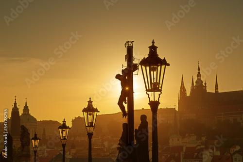 Foto op Canvas Bedehuis View of Prague in evening from Charles bridge