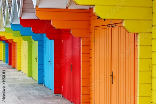 Colorful English beach huts at Scarborough