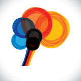 abstract colorful human brain icon or sign- simple vector graphi poster