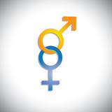 Colorful male & female sex(gender) icons or signs- vector graphi poster