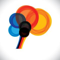 abstract colorful human brain icon or sign- simple vector graphi