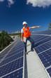 Solar panels with technician
