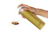 Cockroach spray with spray cans isolated over white background