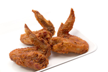 Deep Fried Chicken on a plate Isolated and White Background