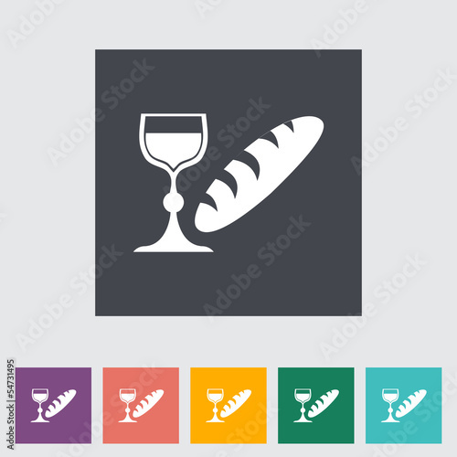 Bread and wine single flat icon.