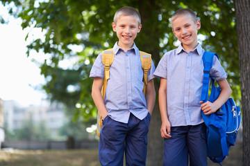 Twin schoolboys