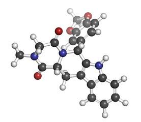 Tadalafil erectile dysfunction drug, chemical structure.