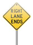 Right land ends traffic sign