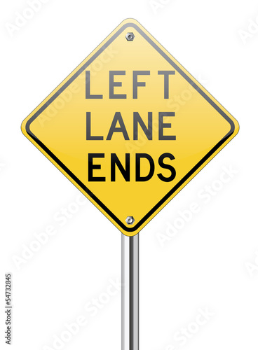 Left land ends traffic sign
