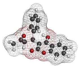 Warfarin anticoagulant drug, chemical structure.