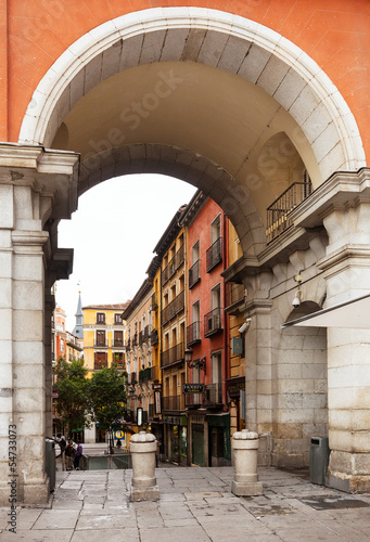 Archway of Plaza Mayor in Madrid, Spain.