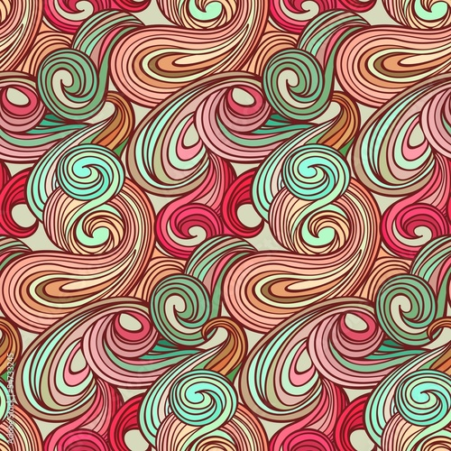 Fototapeta na wymiar Seamless abstract curly wave pattern