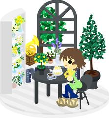 モノトーンを基調としたカフェて物思いに耽る女性