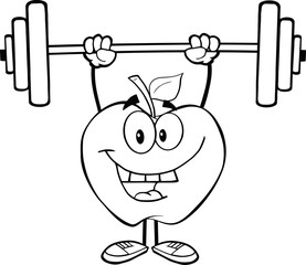 Outlined Smiling Apple Cartoon Character Lifting Weights