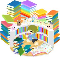 たくさんの本に囲まれて、読書を楽しむ子ども
