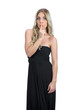 Attractive blonde wearing black dress hiding secret