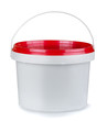 White round plastic food container