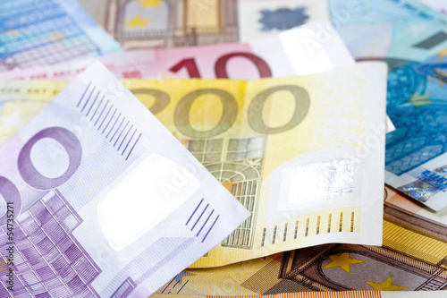 CLOSEUP OF EURO - EUROPEAN UNION BANKNOTES