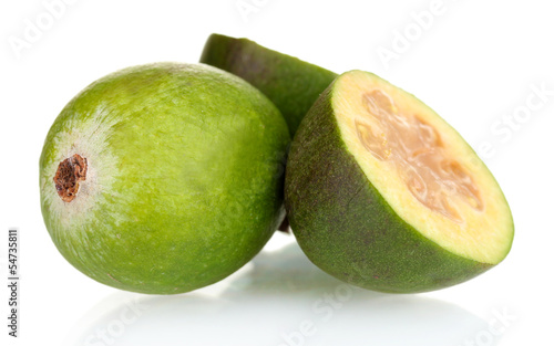 slsed feijoa fruit, isolated on white