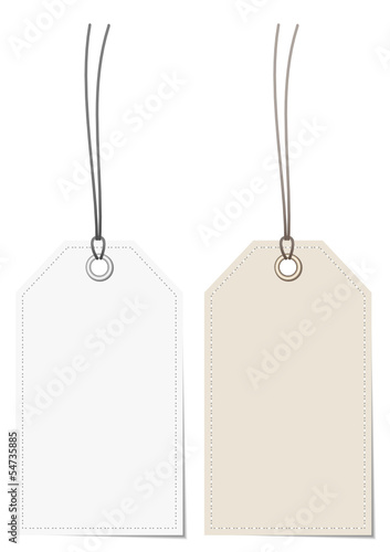 2 Label White/Beige Stitching Border