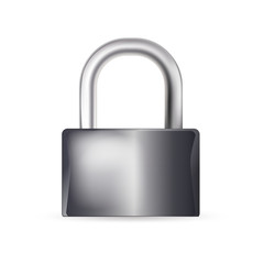 closed lock on white background