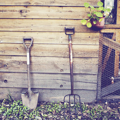 Gardening tools with retro filter effect