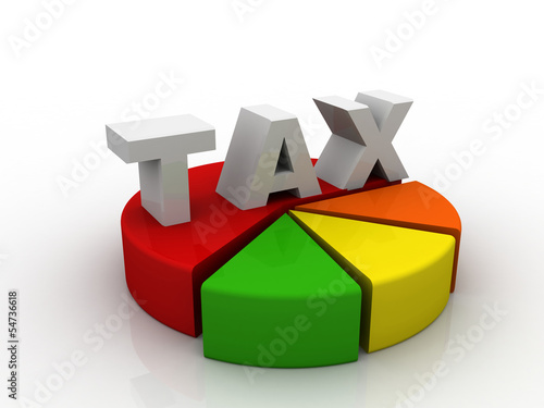 3d render of tax pie chart
