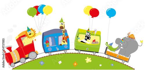 Wesoły pociąg urodzinowy- zwierzęta i balony