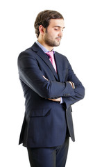 Disappointed businessman with arms crossed