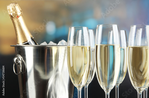 Champagne in glasses in restaurant