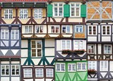 Collage of the ancient unique fahverk houses. Germany