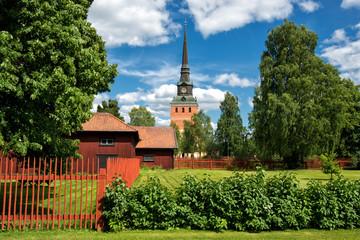 Summer in Mora in the Swedish folklore district Dalecarlia