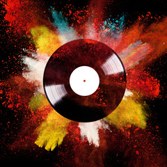 Vinyl disc with colored powder