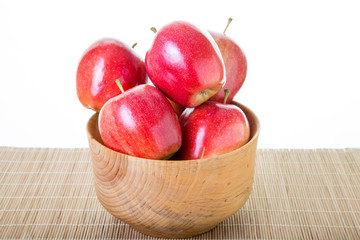 Wood Bowl Full of Red Apples