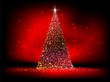 Abstract golden christmas tree on red. EPS 10