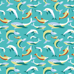 Vector seamless pattern with fishes in flat style