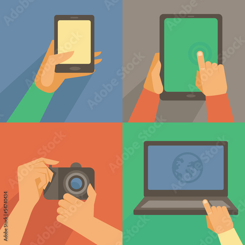 Vector set of flat icons - mobile phone, laptop