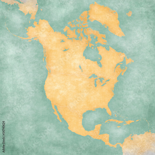 Map of North America – Blank Map (Vintage Series)