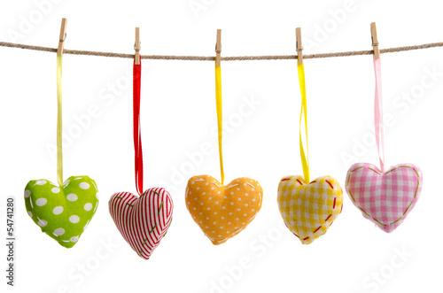 Fünf bunte Herzen