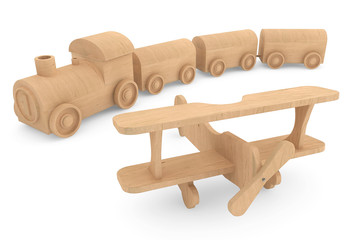 Children toy wooden train and airplane