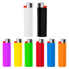 Set of Multicolor closeup cigarette lighters
